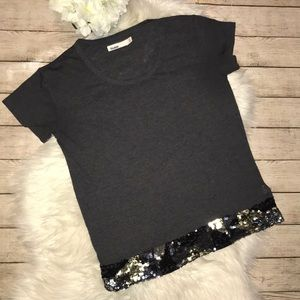 Madewell, Hi-Line Gray T-Shirt with Sequins